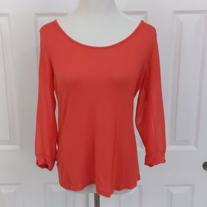 BKE Red 3/4  semi-sheer sleeves blouse size l